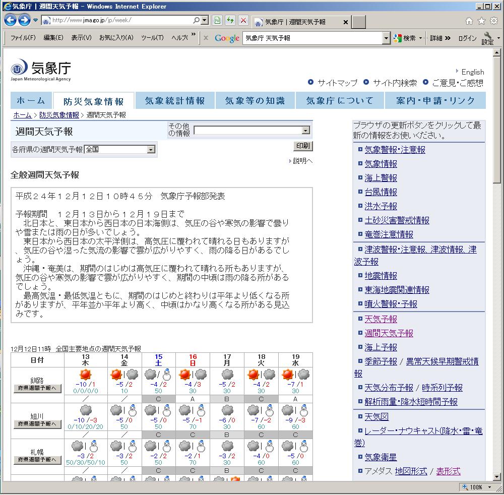 気象庁 週間天気予報 気象庁 週間天気予報http://www.jma.go.jp/jp/wee